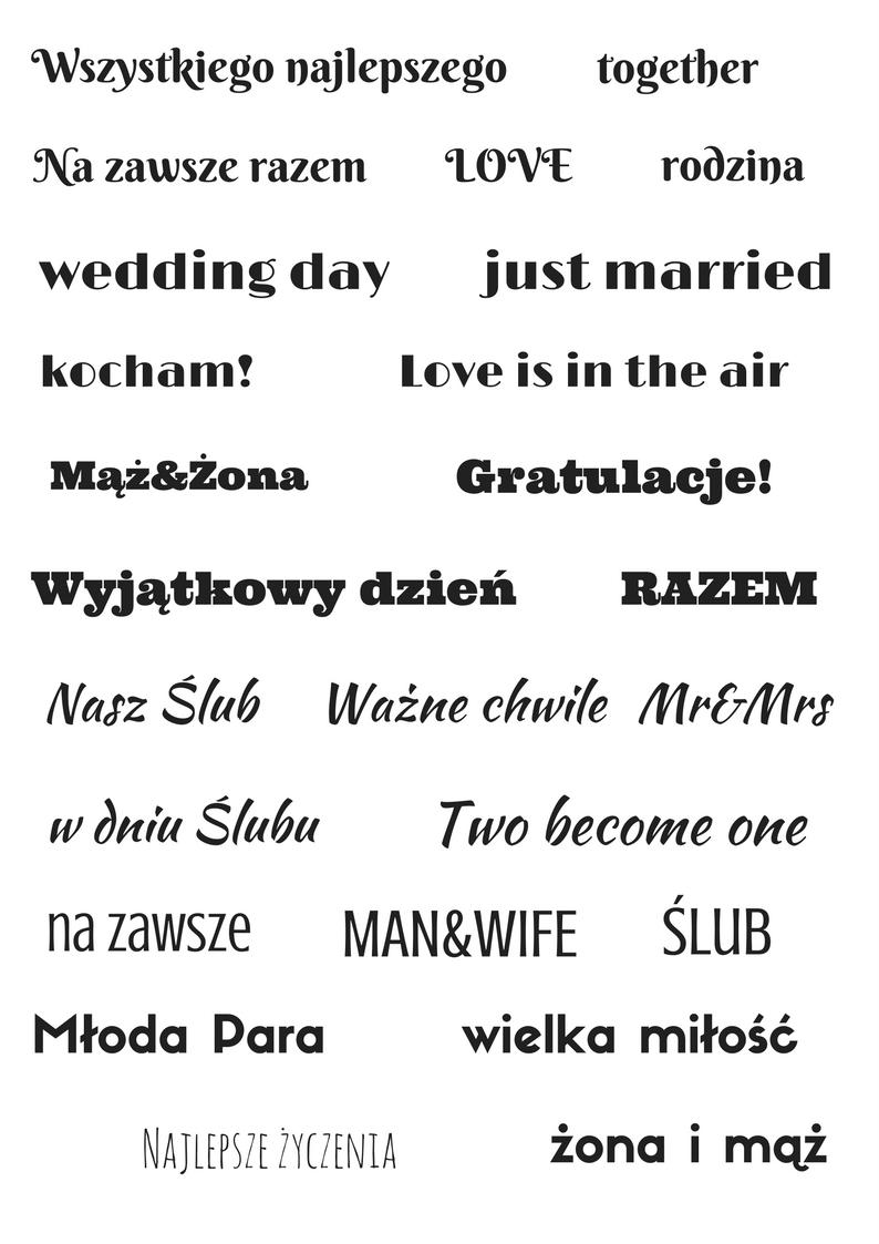ślubne Napisy Do Pobrania Blog Creativehobbypl