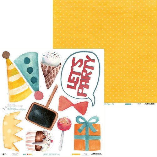 Papier do scrapbookingu Happy Birthday 30,5x30,5 cm - 01