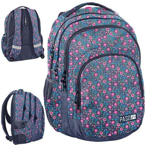 727d4fae33b38 Plecak młodzieżowy szkolny dla dziewczyny Paso - kwiatki