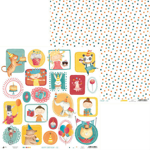 Papier do scrapbookingu Happy Birthday 30,5x30,5 cm - 02